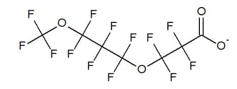Chemical structure for 3M replacement for PFOA