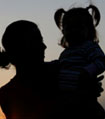 Silhouette picture of mother and daughter