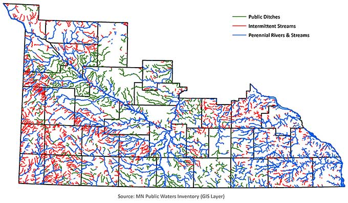 Map of southern Minnesota showing 3 types of waterways