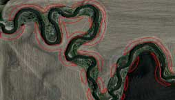 Satellite image showing row crops planted right up to stream beds