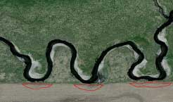 Satellite image showing missing crop buffers