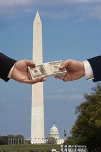 Washington Monument and people handing over cash