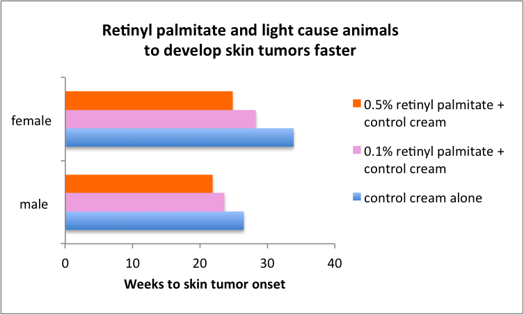Retinyl palmitate and light cause animals to develop skin tumors faster