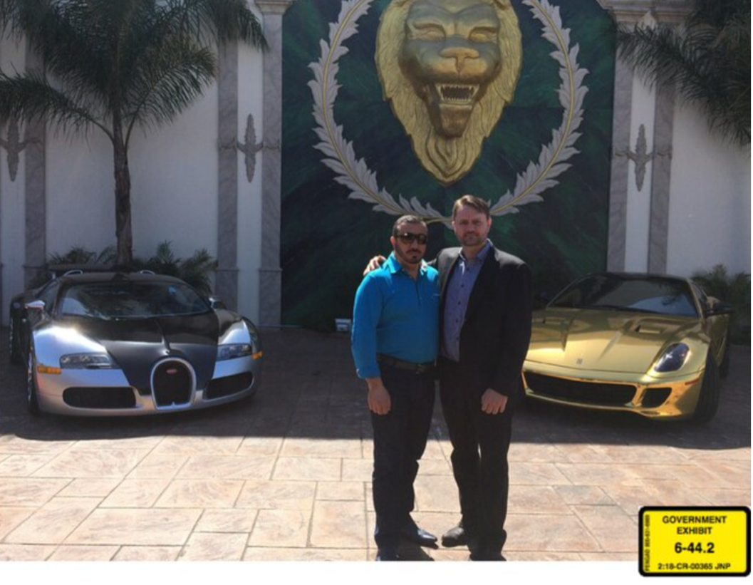 Lev Dermen, left, with Jacob Kingston, 2014. Federal prosecutors say to launder money from biofuels fraud, Kingston purchased the Bugatti, left, to give to Dermen, who purchased the Ferrari on the right to give to Kingston. Photo courtesy U.S. District Court for the District of Utah.