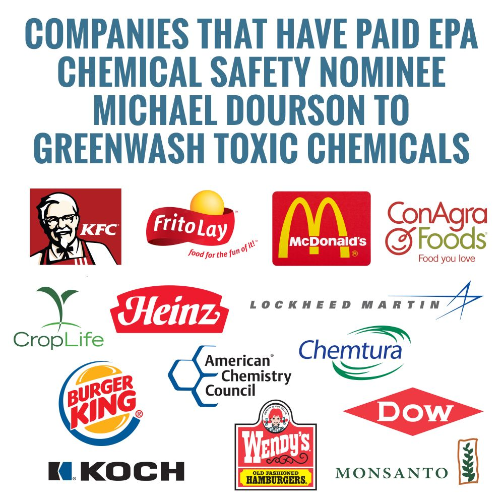 companies that have paid EPA Chemical Safety Nominee Michael Dourson to Greenwash Toxic Chemicals